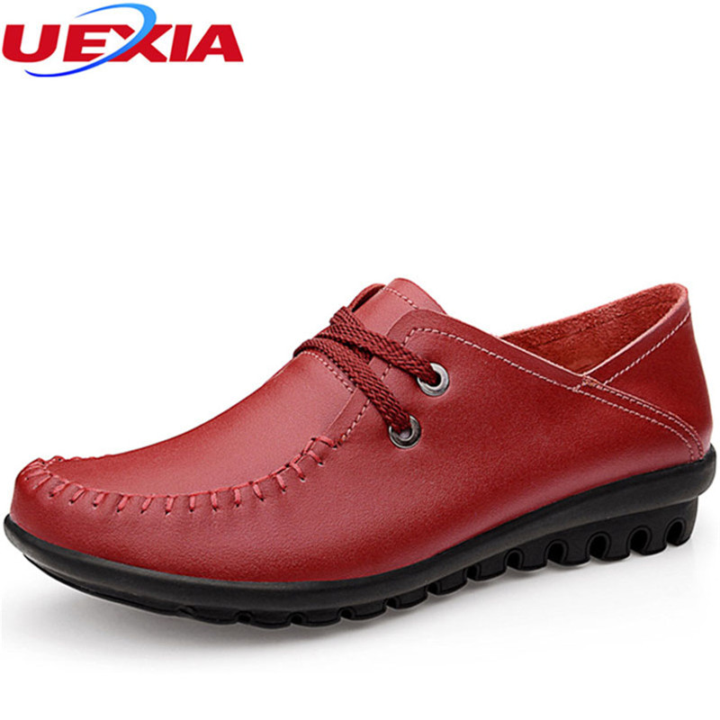 Cow Muscle Ballet Leather Soft Rubber Sole Oxford Casual Shoes Women Flats  Slip On Breathable Moccasins Comfortable Platform summer ballet flats women leather shoes casual fringe slip on basic work shoes rubber soft bottom zapatos mujer