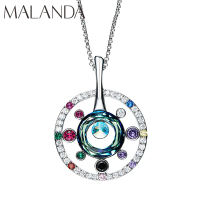 Malanda New Fashion Long Chain Big Disk Necklaces For Women Colorful Crystal From SWAROVSKI Necklaces Body Wedding Party Jewelry