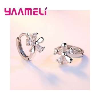 Beautiful Flowers Composition Cubic Zirconia Girls Women Gift Good Quality 925 Sterling Silver Stud Earrings Jewelry 3