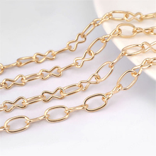 (26864)5 Meters width 5MM Champagne Gold Color Iron 1+1 Round Oval Link Chains Figaro Necklace Diy Findings Accessories