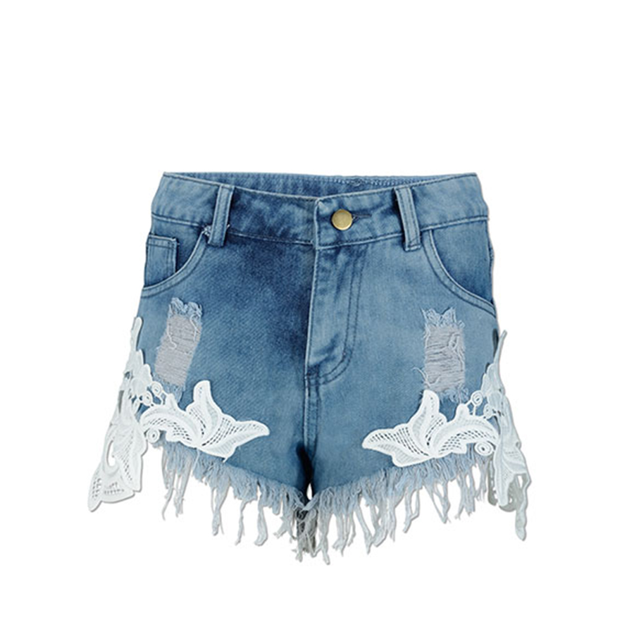 New Tassels Lace Design Middle Waist Super Shorts Denim Jeans For Female Tearing Jeans Cowboy Trousers Ripped Pants Female Sexy