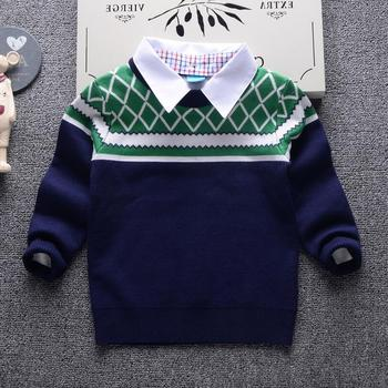 2018 Autumn Winter New Shirt collar Plaid stripes Kids Boy Sweater Children Clothing Baby Cotton thick wool top Boys Pullover