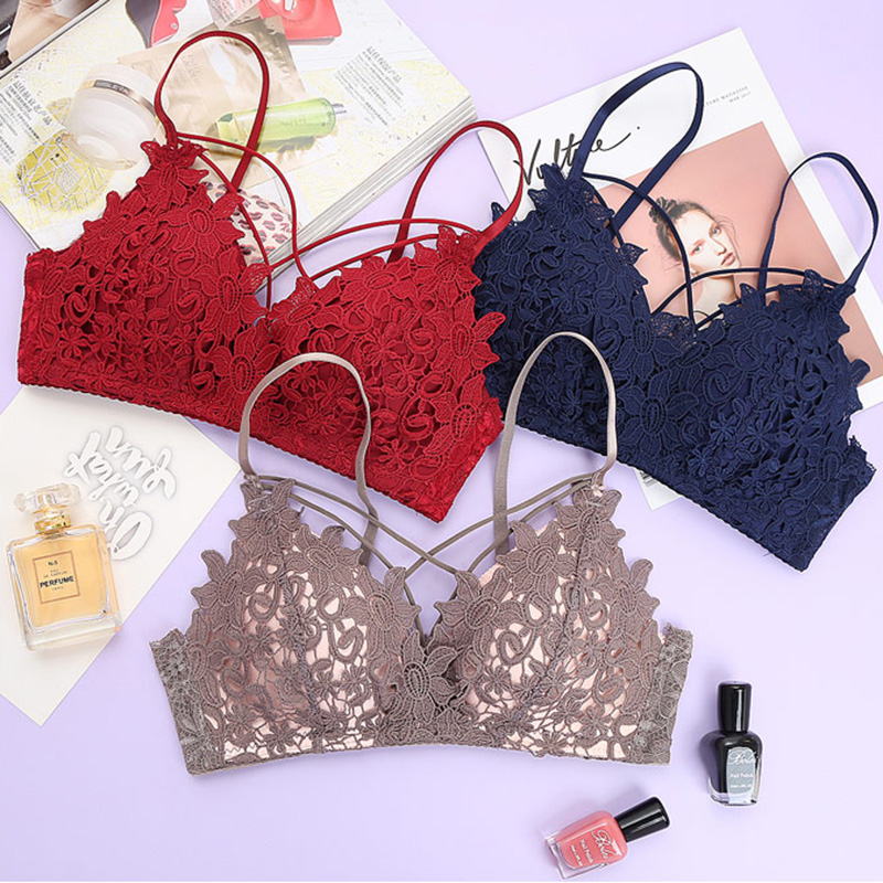 [Quecoo] Underwear Set Gather Without Lace Lace Sexy Bra Comfort Breathable Small chest girl bra