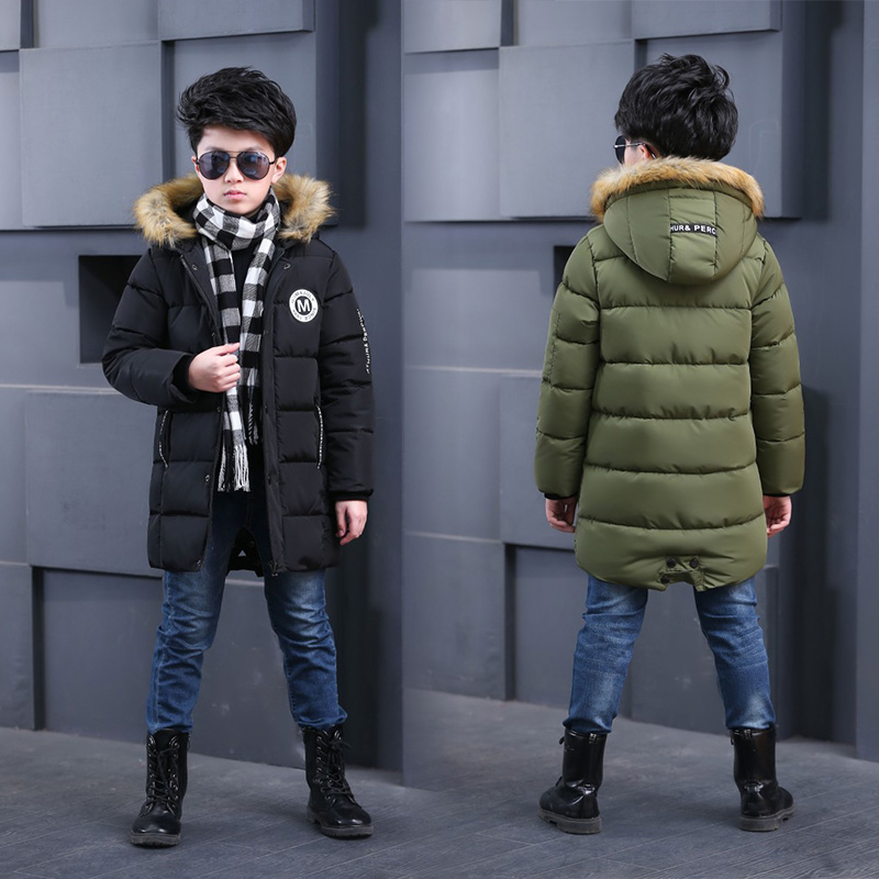 Big Boys Duck Down Long Coat Thicken Warm Kids Faux Fur Hooded Outerwear Children Clothes Winter Parka for Teenage Boy 5-12 Year children winter jackets for boys clothes 2018 fashion hooded thick warm long down coat teenage parka kids outerwear overcoats