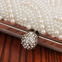 Oval Shaped Pearl Beaded Handbag For Wedding