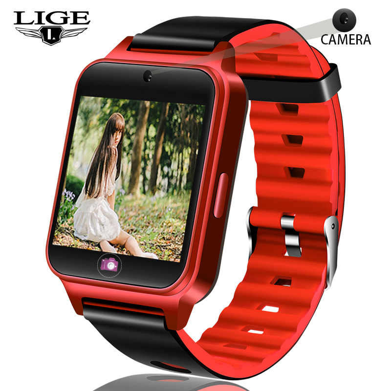 LIGE Smart Watch Pedometer Sport Fitness SmartWatch Information Reminder Support SIM TF Card For Android IOS Reloj inteligente
