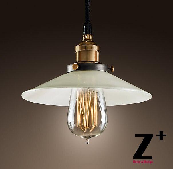 Americký styl Vintage Přívěsek Lehká Průmyslová lampa Loft 20TH C. FACTORY FILAMENT MILK GLASS JEDNOTLIVÝ přívěsek doprava zdarma