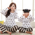 Matching christmas pajamas soft cotton family pajamas striped mommy and me clothes long sleeve tshirt+pants family set drop ship