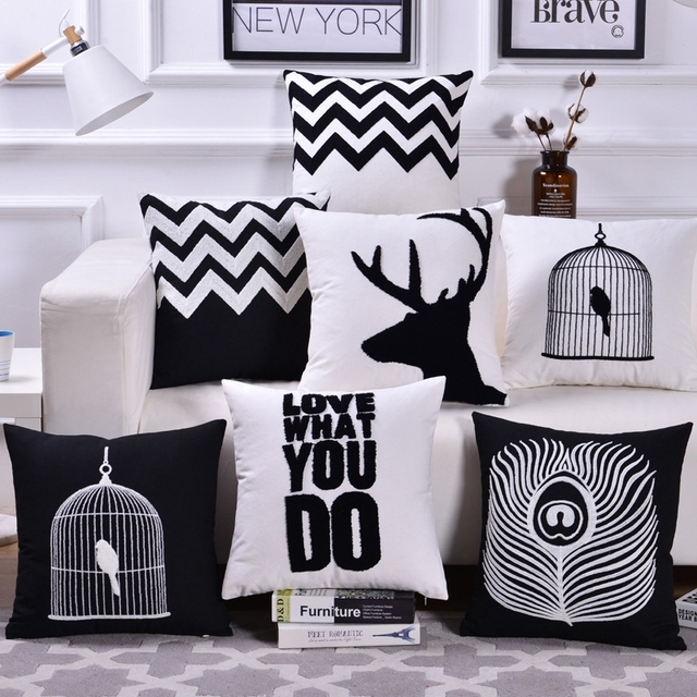 Nordic Home Decor Cage Deer Emboridered Cushion Covers Black White Sofa Throw Pillow Geometric Canvas Cotton Square Cover