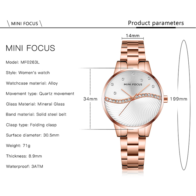 MINI FOCUS Women's Fashion Lady Stainless Steel Strap Waterproof Quartz-Watches 5