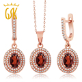 4.33 Ct Red Natural Garnet Vintage Jewelry Sets For Women  Rose Gold Plated 925 Silver Pendant Earrings  GemStoneKing