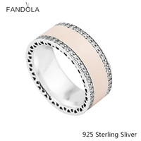 Genuine 925 Sterling Silver European Style Jewelry Soft Pink Enamel with Clear CZ Ring For Women Original Fashion Charms Gift