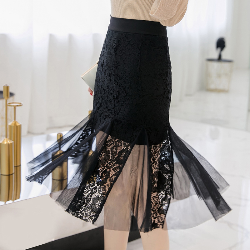 2019 Spring New Arrival Umbrella Skirt Fairy Lace Skirt Chic Designed Ruffles Tulle Stitching Black Skirt Free Shipping