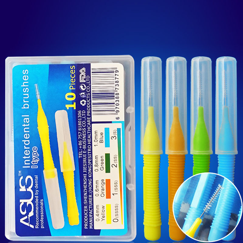 10Pcs/Box 0.4MM 0.8MM Push-Pull Interdental Brush Soft Slim Dental Floss Toothbrush Orthodontic Wire Brush Oral Care Toothpick 1