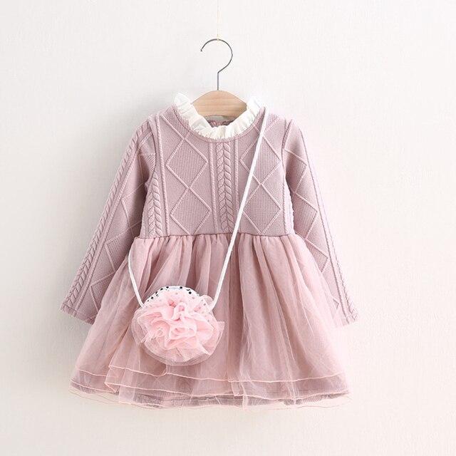 6aabca9922c76 2-6 Ans Tricoté Robe D'hiver Nouveau Enfants Tutu Robes Fille Automne Hiver
