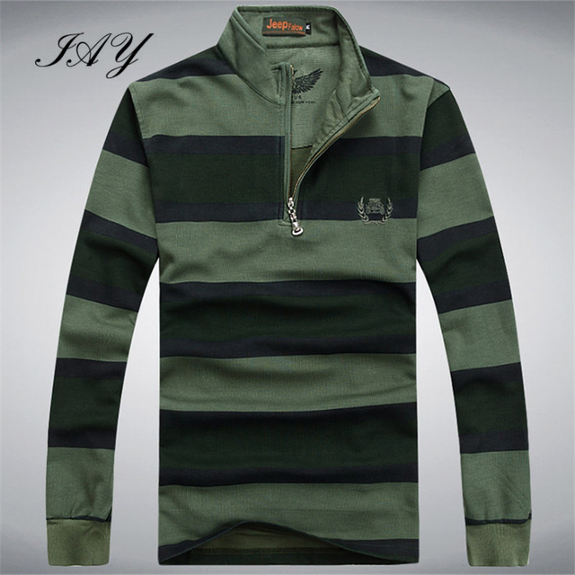 Stand Collar Striped Men's Polo Shirts Cotton Long Sleeve Male Spring Pullover England Style Business Social Pullovers