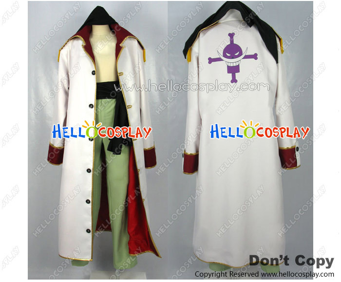 One Piece Cosplay Costume Edward Newgate Red Lining White Coat H008