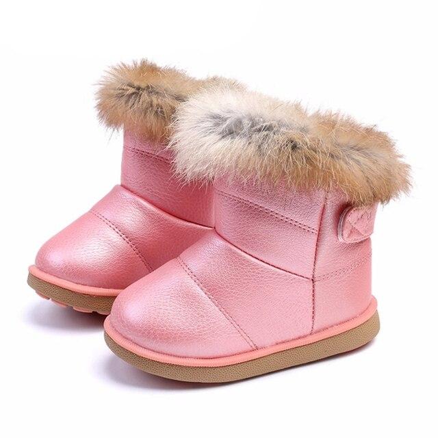 size 40 3c049 7f745 US $7.85 45% OFF|Winter Kleinkind Baby Schneeschuhe Schuhe Warme Plüsch  Weichen Boden Baby Jungen Mädchen Stiefel Leder Winter Schnee Stiefel  Kinder ...