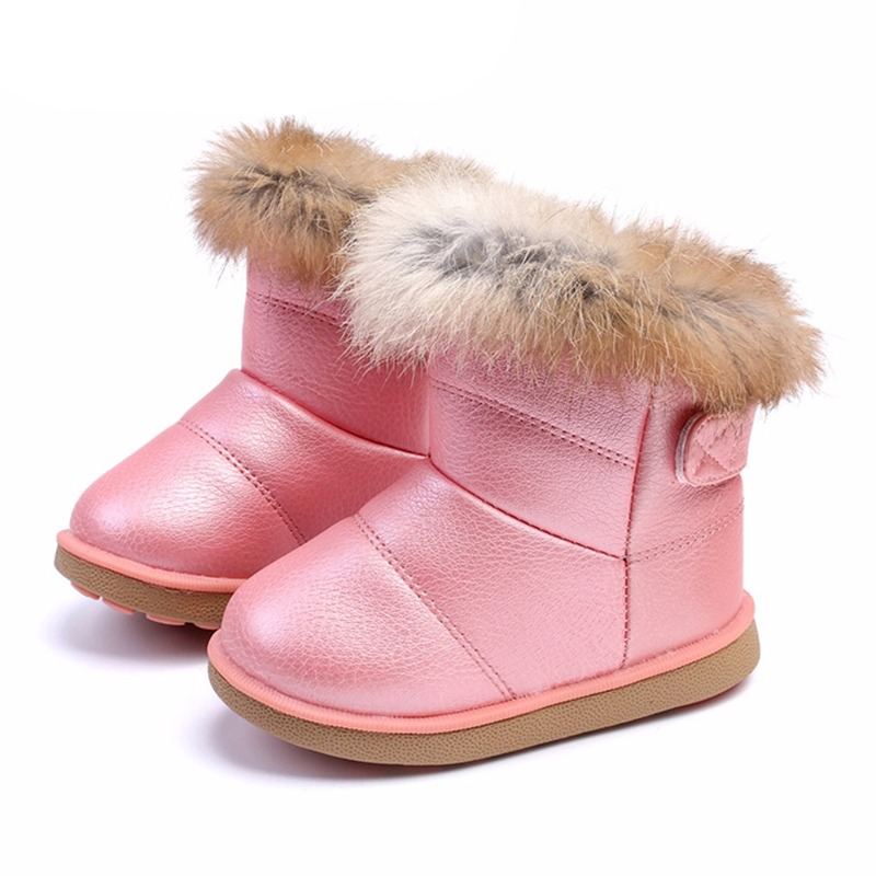 Winter Toddler Baby Snow Boots Shoes Warm Plush Soft Bottom Baby Boys Girls Boots Leather Winter