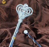 Heart Rhinestone Scepter Wand Double Side Extendable Handmade Sceptre Prop Stuff Parade Beauty Contest Pageant Party