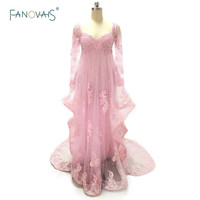 Luxury Real Sample Sweetheart Empire Pink Appliques Beading Long Evening Dress Lace Sexy Sheer Prom Dresses ASAE57
