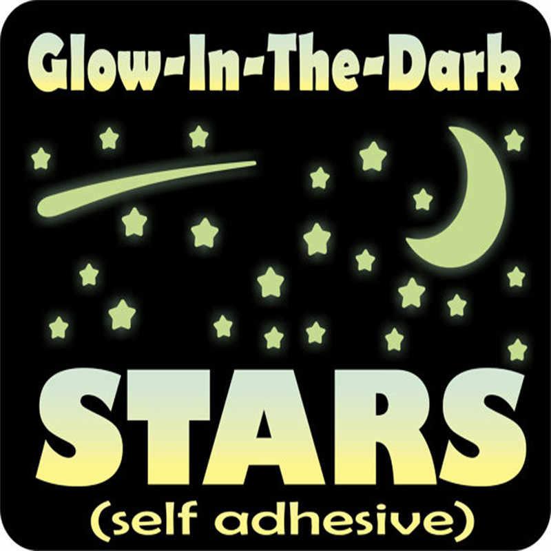 103 piezas brillan en la oscuridad estrellas pegatinas de pared 3D DIY casa calcomanía arte Luna luminosa pared pegatinas niños habitación dormitorio decoración 2019