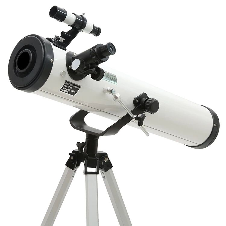 Entry-level 3 inches 76 - 700mm Reflector Newtonian Astronomical Telescope (Black/White)