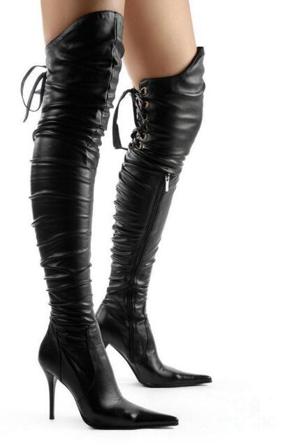 Womens thigh high boots sexy black motorcycle boots high heels over the knee boots woman open toe lace up thin heel booties
