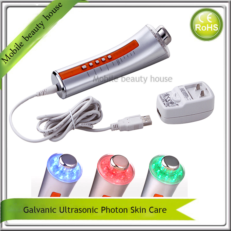 Face Lifting Skin Rejuvenation Rechargeable Ultrasonic Photon Galvanic Ion Skin Care Beauty Instruments Free Shipping