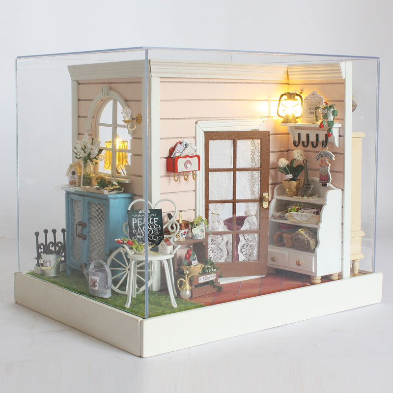 Happy Time Assemble DIY Doll House Furniture Toy 3D Wooden Handmade Miniatura Dollhouse Toys With Dust Cover Kids Birthday Gift
