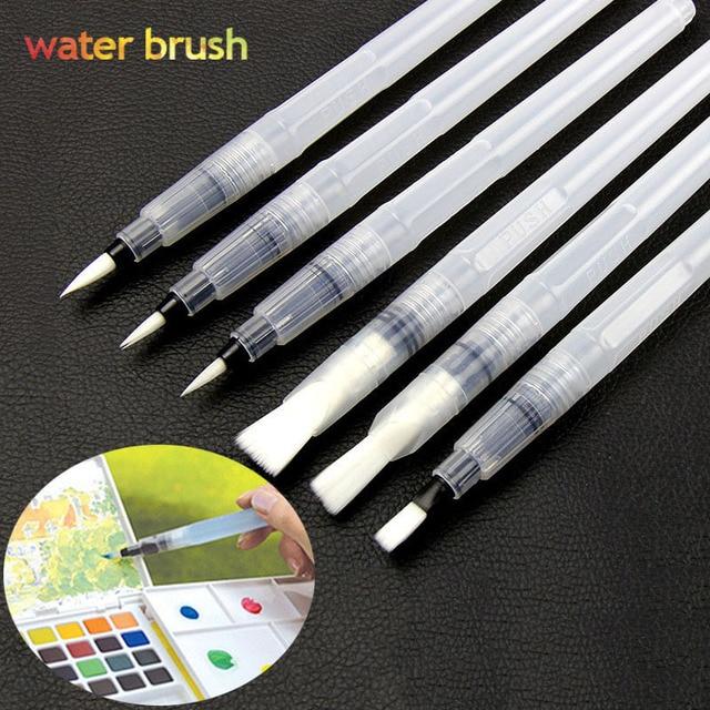 6Pcs/Set Water Brush Set Calligraphy Drawing Art Supplies Painting Brush Flat Round Shape Large Capacity Watercolor Brush Pen