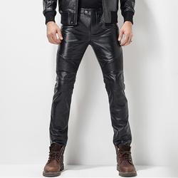 Мужские кожаные брюки кожаные узкие байкерские брюки мотоциклетные панк-рок Брюки Гладкие блестящие кожаные брюки плотные сексуальные