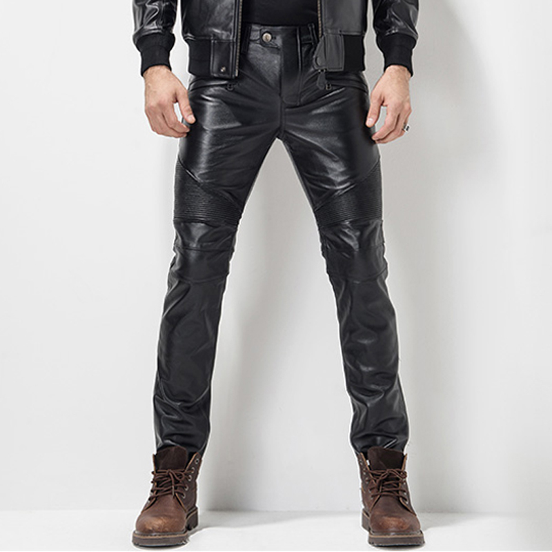 Men's Leather Pant  Leather Skinny Biker Pants Motorcycle Punk Rock Pants Slick Smooth Shiny Leather Trousers Tight Sexiest