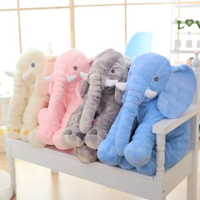 60cm Height Large Plush Elephant Doll Toy Kids Sleeping Back Cushion Cute Stuffed Elephant Baby Accompany Doll Xmas Gift