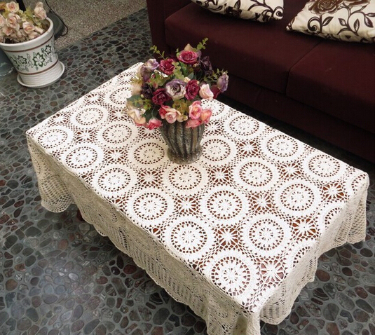 Christmas Decorations Handmade Crochet Flowers Woven Cotton Lace Tablecloth  Hollow Coffee Table Cover Cloth Table Cloth