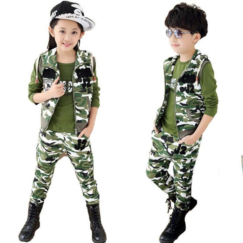Sistema de la ropa de camuflaje ropa de niños outwear bebé establece corta camis