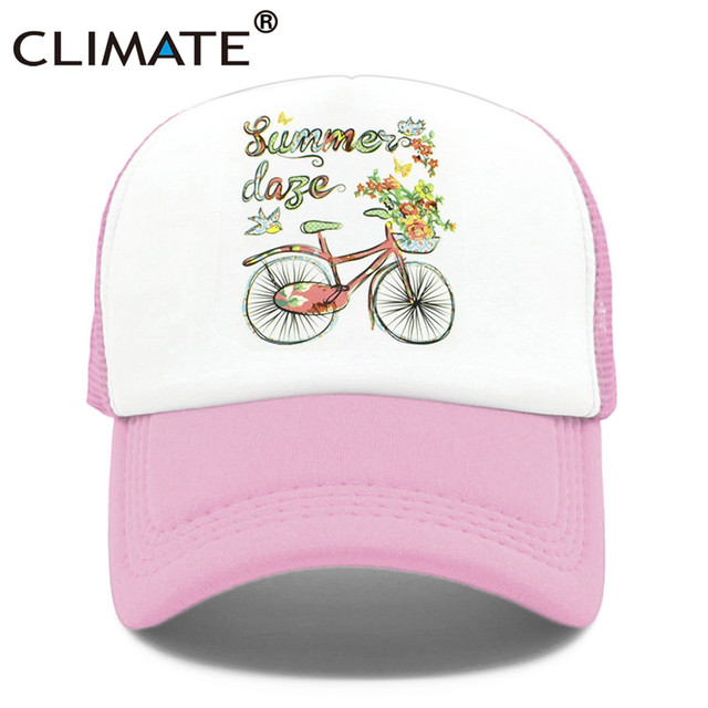 dcff00b7d US $5.78 38% OFF|CLIMATE Women Girl Caps Hat Women Summer Nice Trucker Caps  Colorful Bicycle Pink Flower Mesh Baseball Cap Hat for Women Girls-in ...