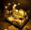 Новые прибытия Рождественский ПОДАРОК DIY большой дом с пылезащитный Деревянные кукольный Дом С Мебелью Куклы с музыкой Игрушки Puzzle 3D подарки