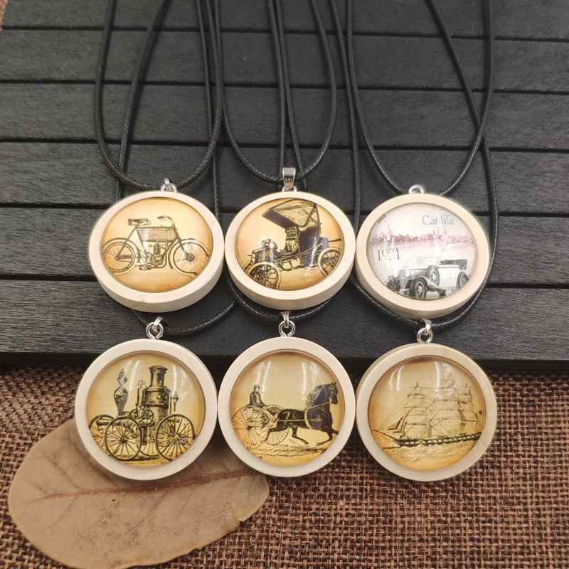 2019 Retro Necklace Wood Wooden Pendant Rope Time Gem Bicycle Sailing Carriage Antique Old Time Classic Female Gift AA043-060
