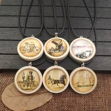 2019 Retro Necklace Wood Wooden Pendant Rope Time Gem Bicycle Sailing Carriage Antique Old Time Classic Female Gift AA043-060(China)