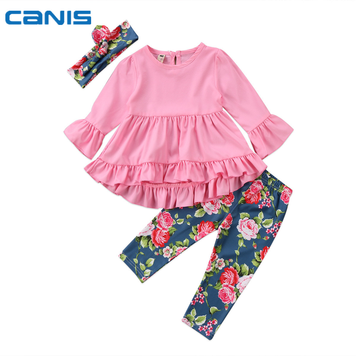 2017 Brand New Newborn Toddler Infant Baby Girl Party Falbala Dress Tops Leggings Pants Headband 3Pcs Outfit Flower Set 2-7T us stock floral newborn baby girls lace romper pants headband outfit set clothes infant toddler girl brief clothing set playsuit