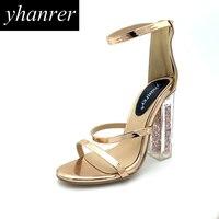 Newest Women S Transparent Square Heel Pumps Roman Gladiator High Heels Summer Sexy Women S Shoes