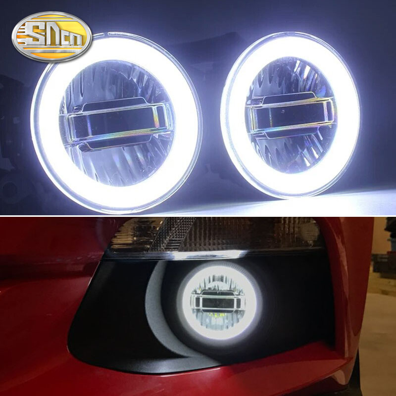 SNCN 3 IN 1 Functions Auto LED Angel Eyes Daytime Running Light Car Projector Fog Lamp