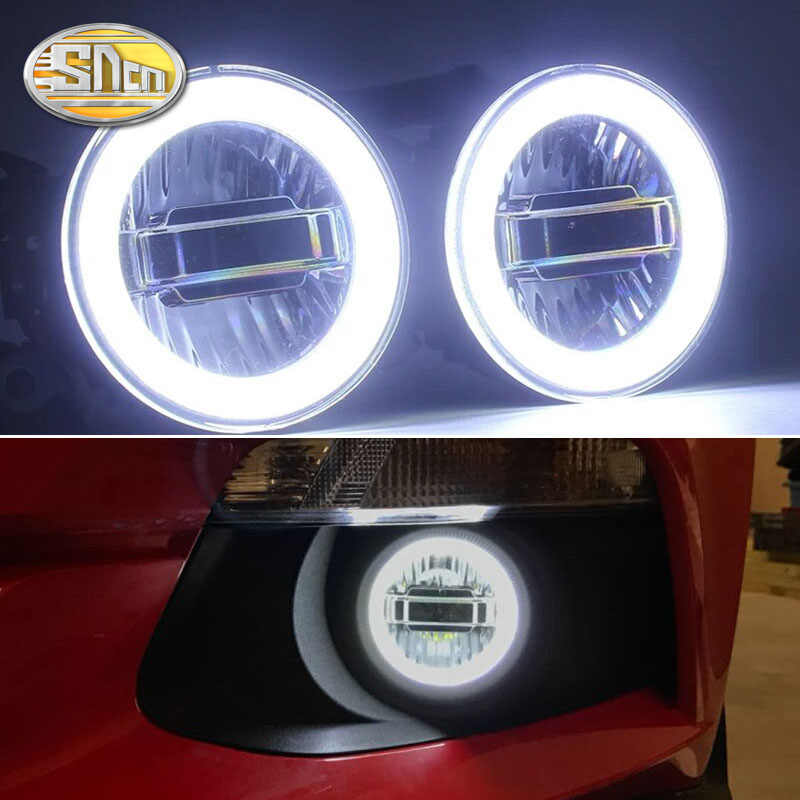SNCN 3-IN-1 Functions Auto LED Angel Eyes Daytime Running Light Car Projector Fog Lamp For Ford Mustang 2015 2016 2017 2018