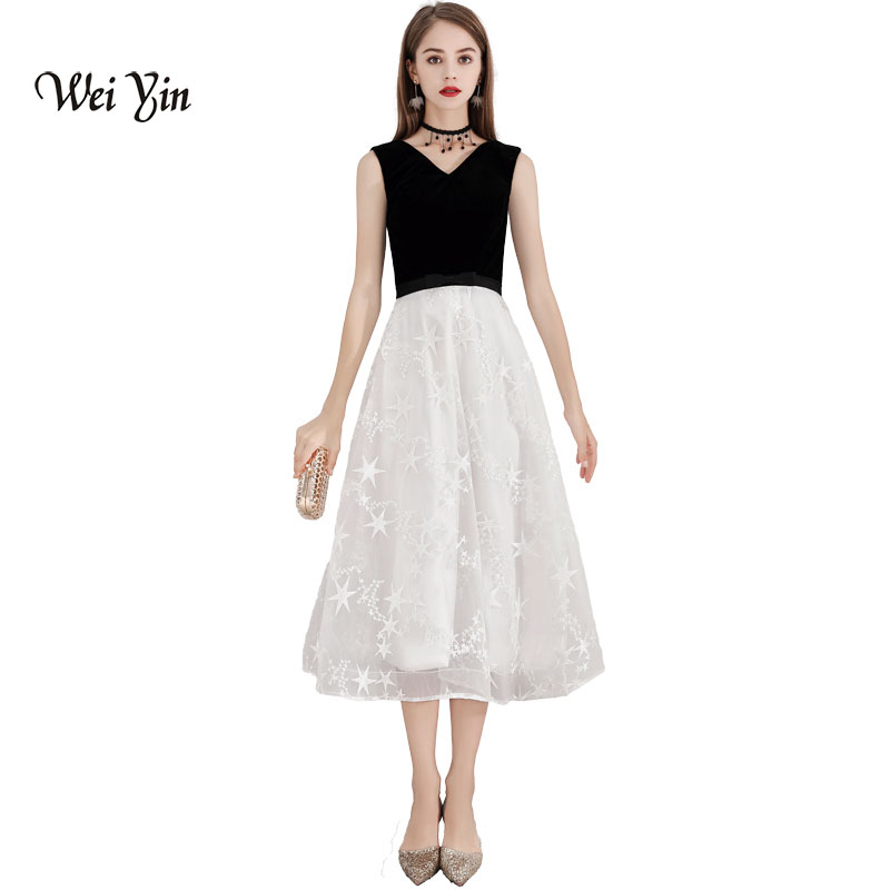 Weddings & Events Weiyin 2018 New Women Elegant Lace Evening Dresses Double V-neck A-line Hollow Out Sleeveless Black Casual Party Dress Wy892 Wide Varieties