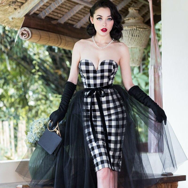 Darmowa wysyłka Le Palais w stylu Vintage mały elegancki retro PIN UP pogrubienie aksamitna szachownica bodycon sukienka/vestidos w Suknie od Odzież damska na AliExpress - 11.11_Double 11Singles' Day 1