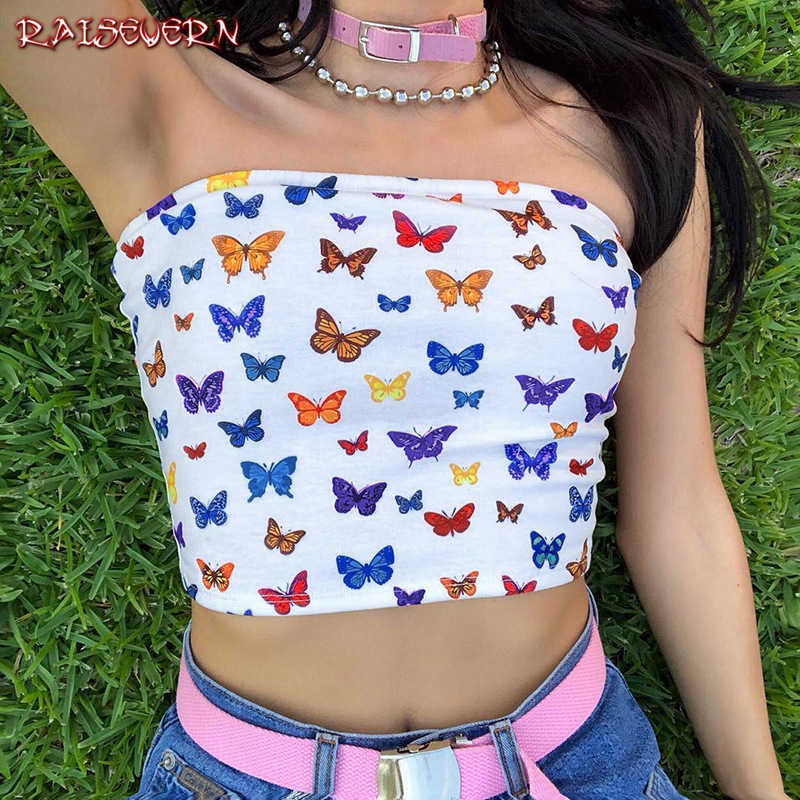 RAISEVERN 2019 New Fashion Hot Sexy Women Strapless Top Boob Tube Top Sexy Sleeveless Crop Top Lady Bandeau Top 3D Butterfly