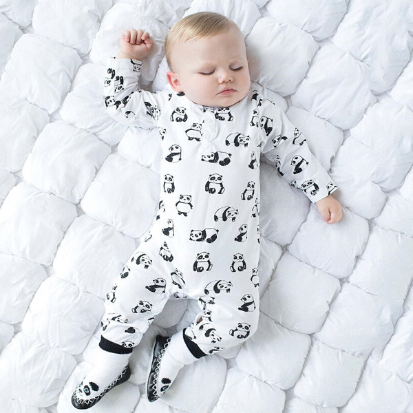 2019 Newly arrived Newborn clothes unisex baby clothes Infant clothing Long sleeve white panda pattern baby   rompers   jumpsuit