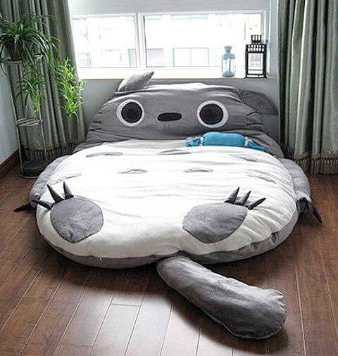 1,8x2.5m, diseño de tamaño enorme, bonita cama suave europea, Totoro, dormitorio, cama, saco de dormir, sofá 100% algodón, producto en oferta en Japón y Canadá