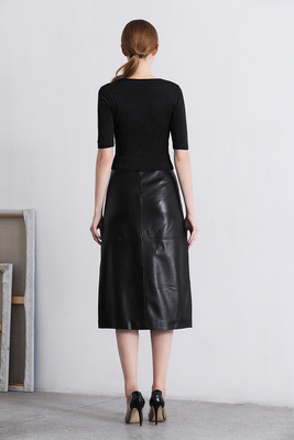 2019 New Fashion Genuine Sheep Leather Skirt E6 in Skirts from Women 39 s Clothing